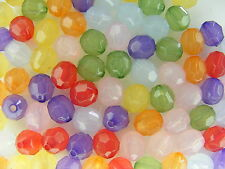 100 PERLES FACETTES  SEMI OPAQUE 8mm synthétiques     A136