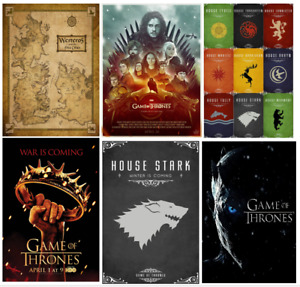 GAME OF THRONES westeros map house stark sword flag daenerys print/poster A4/A3