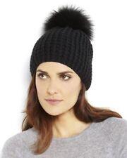 KYI KYI CLASSIC Real FOX FUR Hat Black New