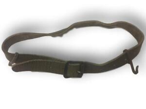 Swedish 45cm utility olive  leather straps with brass webbing hooks