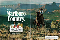 1981 Cowboy horseback Marlboro man cigarettes rope vintage photo print ad ads56