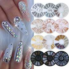 3D Nail Rhinestones Silver Gold Crystal Gems Beads Pearl Glitter UV Gel Decor UK
