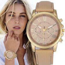 Mode Geneva Damen Leder Band Armbanduhr Edelstahl Quarz Analog Wristwatch Uhr