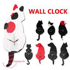 Wall Clock Swinging Tail Animal Dog/Cat Shaped Modern Bedroom Home Decoration AU