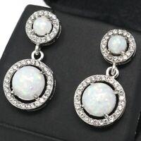 Sparkling White Opal Earrings Women Wedding Birthday Gift 14K White Gold Plated