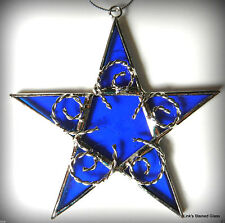 Stained Glass Star Sun Catcher, Blue
