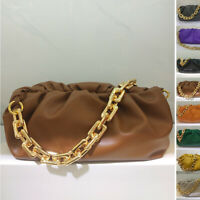 Light Chunky Big Metal Chain Real Leather Ruched Clutch Pouch Shoulder Bag Purse