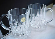 2--24% Lead Crystal France Chocolate/Coffee Mugs with Pressed Glass Coasters.