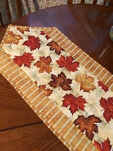Handcrafted-Quilted Table Runner - Maple Leaves - Gold,Rust,Cream- Horizontal