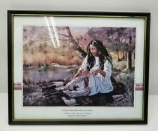 Pocahontas Artwork Indian Girl Woman Guide Canvas Picture Frame 21x17 Moccasin