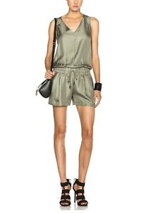 Rag & Bone Vetiver Elsa Silk Romper Size 10 New