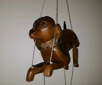 ANTIQUE AMERICAN FOLK ART MARIONETTE DOG BEAGLE? WOOD CARVING ARTICULATED HEAD