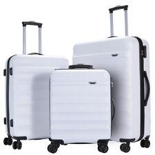 GinzaTravel Anti-scratch white Luggage 3 Piece Sets Lightweight Spinner Suitcase