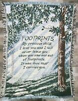 Footprints My Precious Child Poem Blanket Tapestry Afghan Throw Trees Path Green