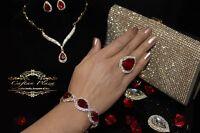 Edeles Luxus Strass Armband, Brautschmuck Bracelet Zirkonia Hochzeit Gold Rot