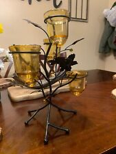 Decorative CANDLE HOLDER Metal branch Amber Glass holders gift
