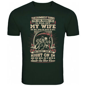 Don't Piss Off My Wife Skull T Shirt Funny T-Shirt Mens Womens Unisex Tee