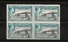 GIBERT & ELLICE  ISLES  (391) 1939 SG51 1/- BROWN/TURQ/GREEN X BLK OF 4 UMM MNH
