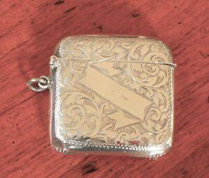 Sterling Silver Vesta Match Case Birmingham 1902, John Rose