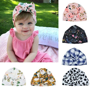 Toddler Newborn Baby Sun Hat Kids Boys Girls Floral Print Bowknot Caps Turban R
