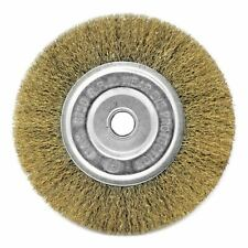 """6'' Crimped Golden Steel Wire Bench Wheel Brush 5/8"""" arbor for angle grinder"""