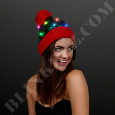 HOLIDAY WINTER Light Up Blinking Beanie Hat With MULTICOLOR LEDS
