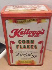 Ancienne boite métallique publicitaire céréales kellog's corn flakes vintage