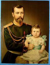 RUSSIE 1898-NICOLAS II & SA FILLE OLGA-CHROMO LITHOGRAPHIE XXL TRÈS RARE