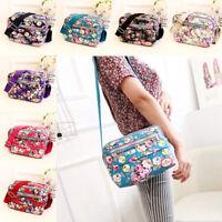 Women Flower Design Cross Body Messenger Canvas Zipper Shoulder Bag