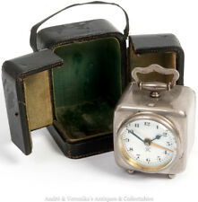 Antique JAPY FRERES French Cased Travel Alarm Clock Victorian / Edwardian Steel