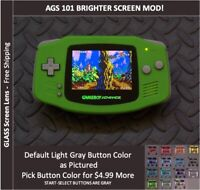 Nintendo Game Boy Advance  System AGS101 Backlit Mod-Glass Screen - Lime Green