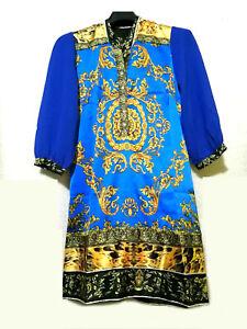 Cobalt Blue And Gold Mini Dress