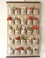 POTTERY BARN Flax Tan Linen Farmhouse Large Wall ADVENT CALENDAR Christmas -RARE