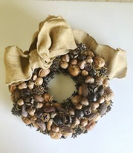 Vintage Wreath Natural Pine Cones Nuts Seed Pods Autumn Christmas Any Time 12 in