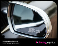AUDI S3 LOGO MIRROR DECALS STICKERS GRAPHICS x3 IN SILVER ETCH