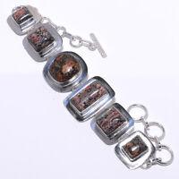 Bird Eye Jasper Gemstone 925 Sterling Silver Bracelet Jewelry 7-8 6823