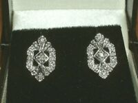 10K WHITE GOLD DECO STYLE DIAMOND stud  EARRINGS