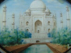 Fine Anglo Indian Mughal Miniature painting Of The Taj Mahal in India 1920