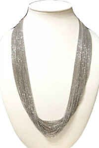 Fine Quality QVC Italy 925 Sterling Multi-Strand Statement Liquid Necklace