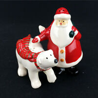 Christmas Salt & Pepper Shaker Set Santa Claus Polar Bear Ceramic Figurines