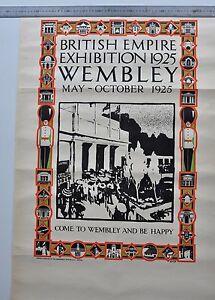 ANTIQUE ORIGINAL POSTER BRITISH MUSIC EXHIBIITION WEMBLEY LONDON 1925