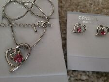 Silver pink Fashion Crystal Pendant Necklace Earrings 2 hearts Set nickel free