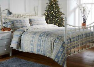 100% Brushed Cotton Flannelette Blue Nordic Printed Festive Christmas Duvet Set