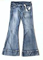 Blue Asphalt Women's Juniors Jeans Low Rise Flare SZ 7 Short New with Tags