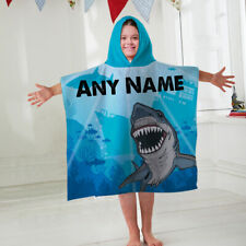 Kids Personalised Hooded Towel Poncho Blue Shark Childrens Bathrobe Swim