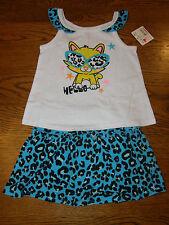 NWT DARLING Girls 2 pc Skort Set, sz 24 mo, Blue Leopard Print, Healthtex
