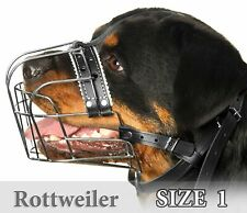 Rottweiler Muzzles Size #1 Metal Wire Basket Adjustable Leather Straps for Dog