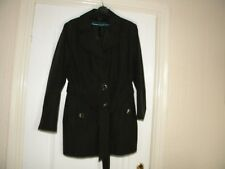LADIES BHS BLACK POLYESTER / COTTON LINED COAT, SIZE 16, EU 44