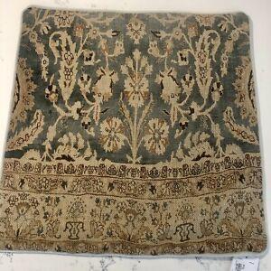"Pottery Barn Palna Decorative 22"" Pillow Cover ~ Blue/Tan ~ Velvet Back ~ NWOT"