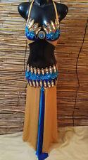 Egyptian Belly Dance Costume bra & Skirt Set Professional Dancing Blue Gold